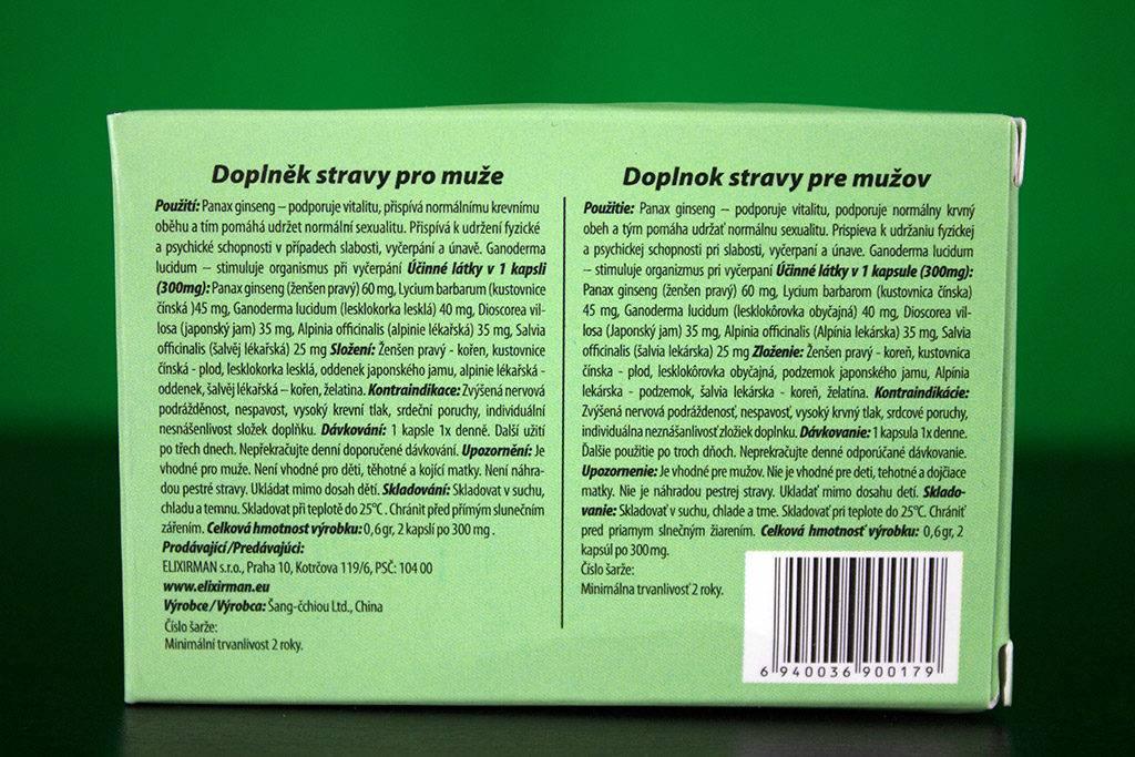 Zadná strana krabičky Elixirmanu - použitie, zloženie a účinné látky, kontraindikácie, dávkovanie