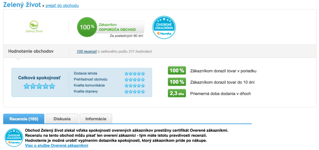 ZelenýŽivot.sk - 100% overený obchod na Heureka.sk