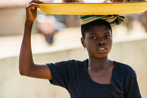 Chudobná žena z afrického Beninu