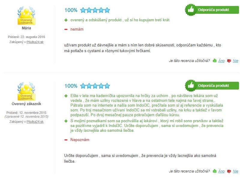 Indol3C - hodnotenie užívateľov