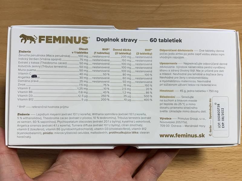 Feminus - zloženie a dávkovanie